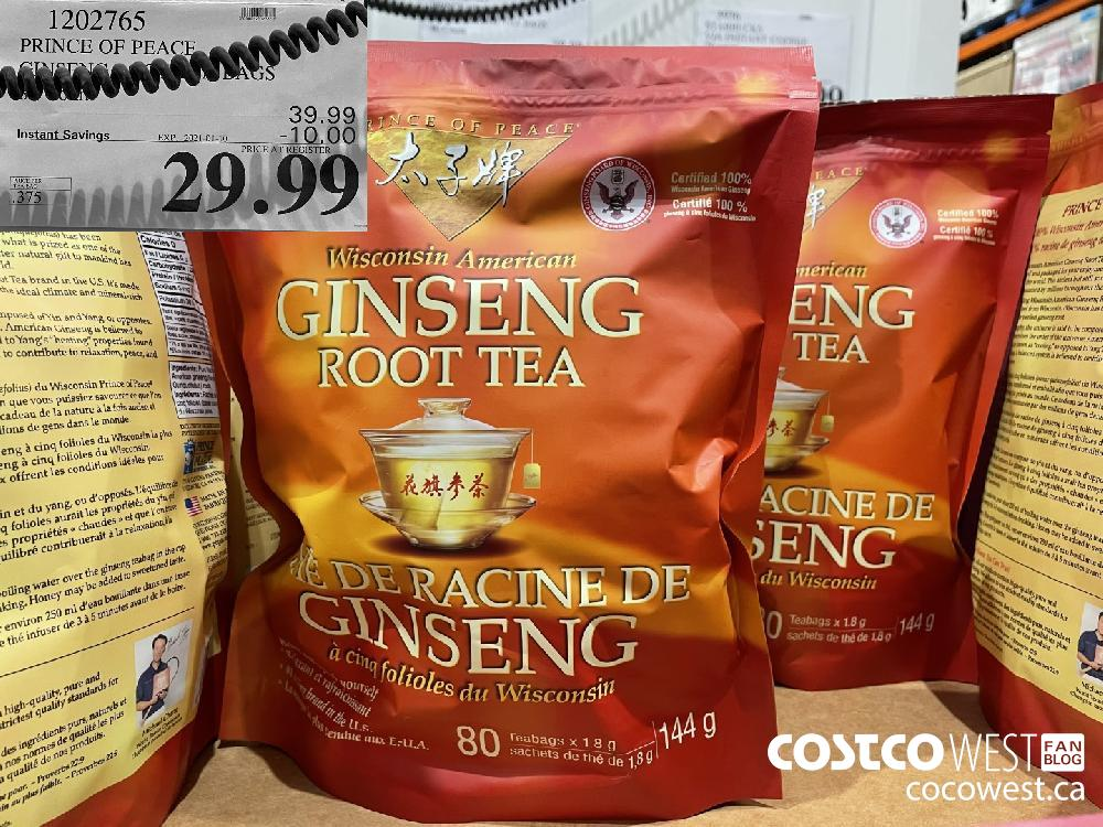 1202765 PRINCE OF PEACE GINSENG ROOT TEA BAGS EXPIRY DATE: 2021-01-10 $29.99