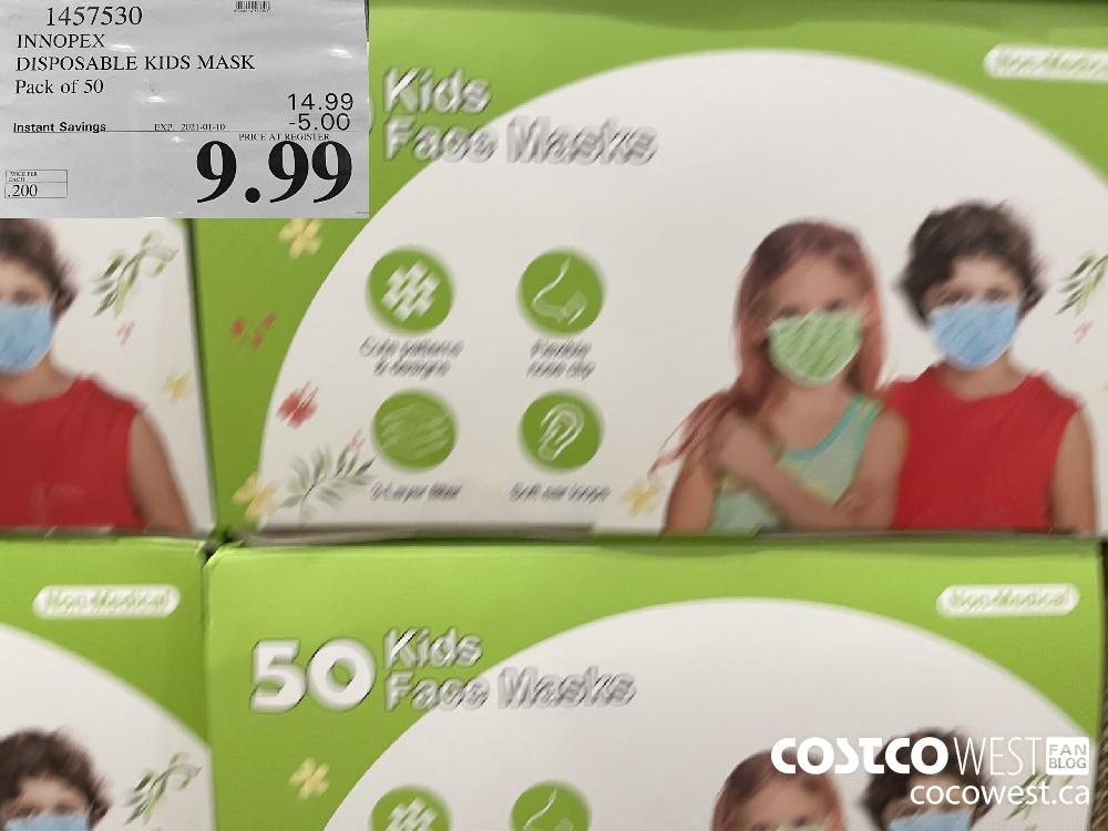 1457530 INNOPEX DISPOSABLE KIDS MASK Pack of 50 EXPIRY DATE: 2021-01-10 $9.99