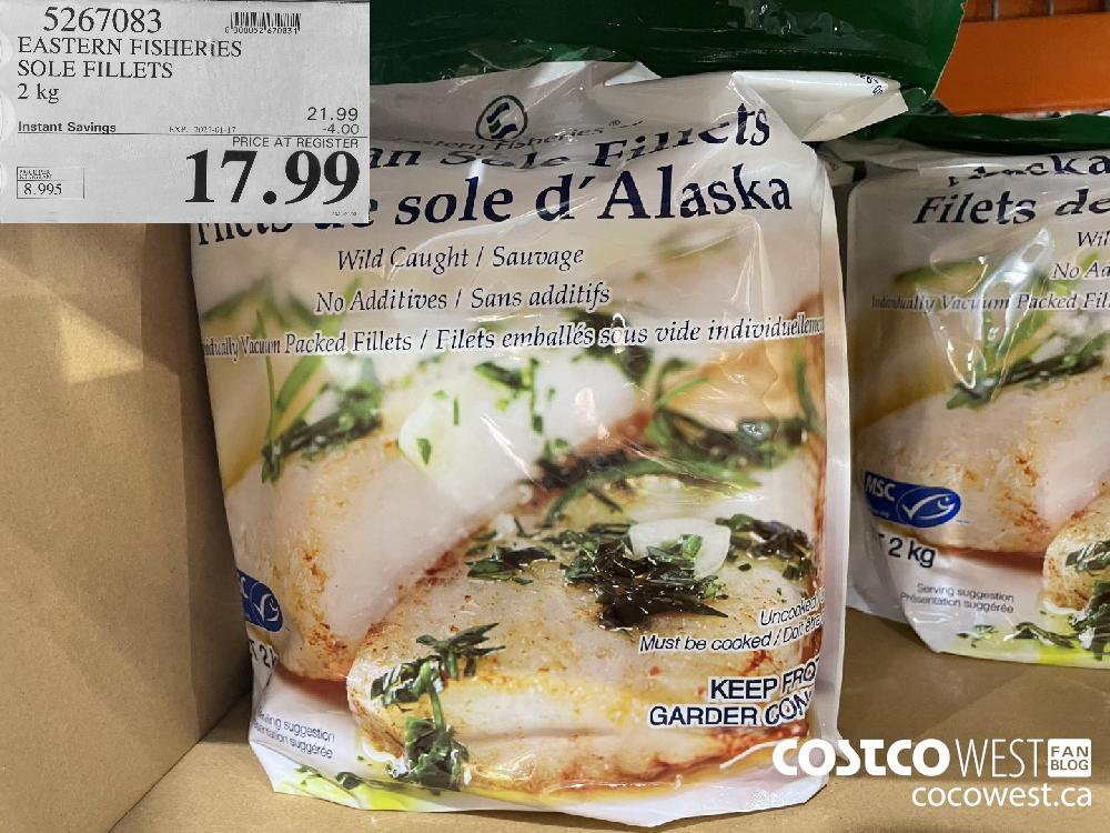 5267083 EASTERN FISHERIES SOLE FILLETS 2 kg EXPIRY DATE: 2021-01-17 $17.99
