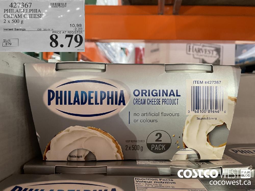 427367 PHILADELPHIA CREAM CHEESE 2 x 500 g EXPIRY DATE: 2021-01-10 $8.79