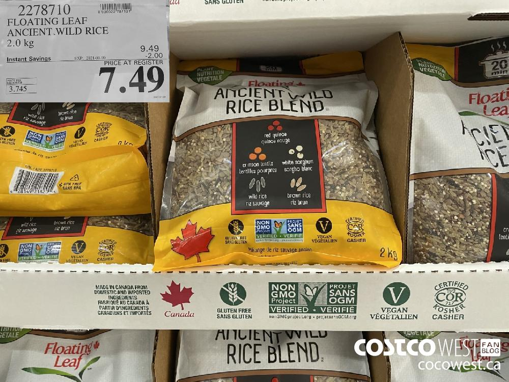 2278710 FLOATING LEAF ANCIENT WILD RICE 2.0 kg EXPIRY DATE: 2021-01-10 $7.49