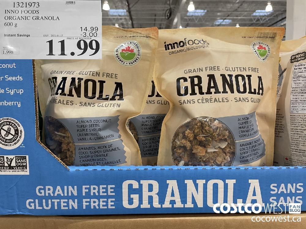 1321973 INNO FOODS ORGANIC GRANOLA 600 2g EXPIRY DATE: 2021-01-17 $11.99