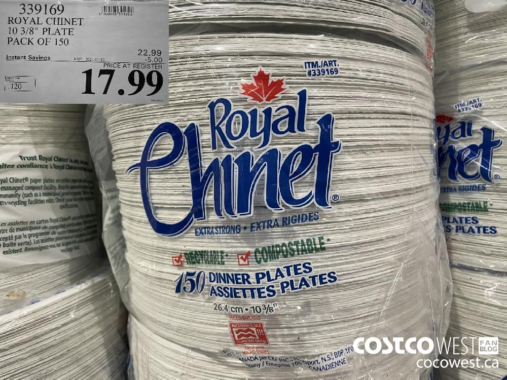"""339169 ROYAL CHINET 10 3/8"""" PLATE PACK OF 150 EXPIRY DATE: 2021-01-10 $17.99"""