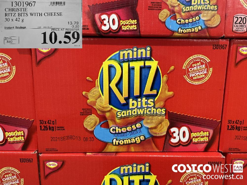 1301967 CHRISTIE RITZ BITS WITH CHEESE 30 x 42 g EXPIRY DATE: 2021-01-17 $10.59