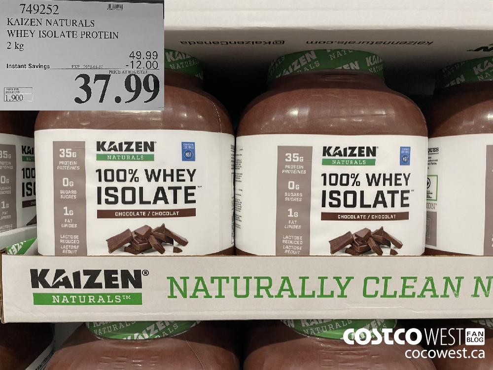 749252 KAIZEN NATURALS WHEY ISOLATE PROTEIN 2 kg EXPIRY DATE: 2021-01-17 $37.99