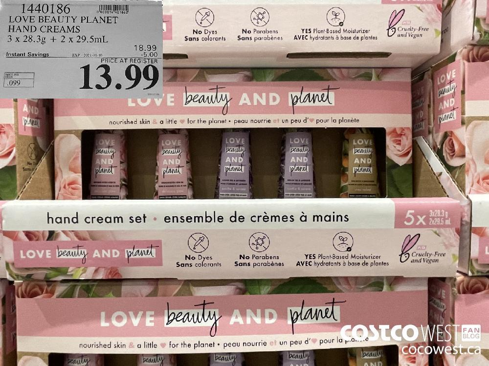 1440186 LOVE BEAUTY PLANET HAND CREAMS 3 x. 28.3g 2 x29.5mL EXPIRY DATE: 2021-01-10 $13.99
