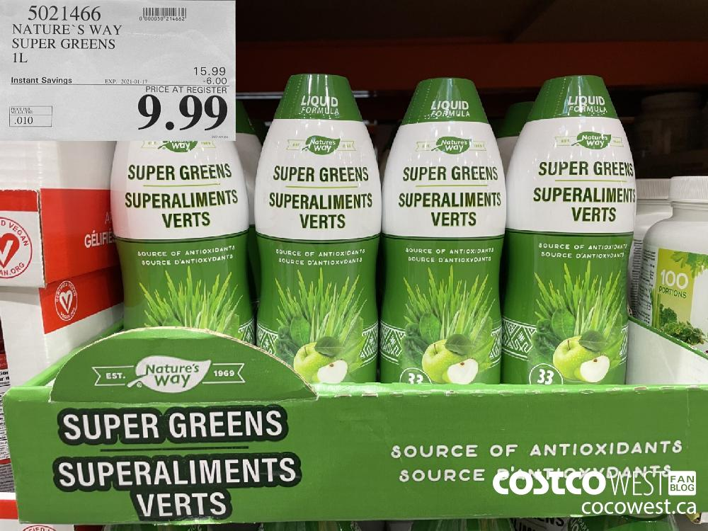 5021466 NATURE'S WAY SUPER GREENS 1 L EXPIRY DATE: 2021-01-17 $9.99