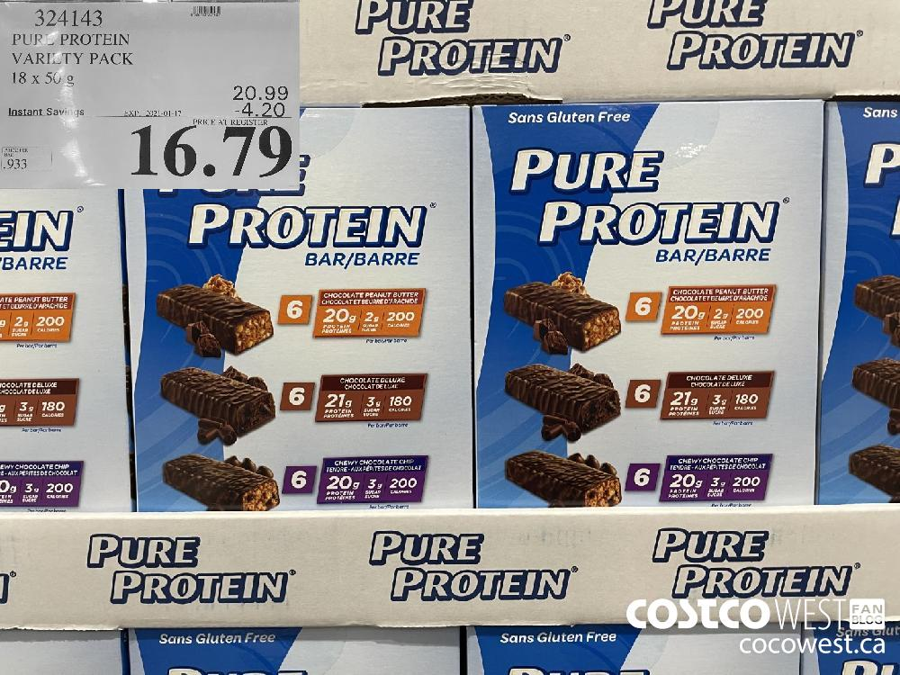 324143 PURE PROTEIN VARIETY PACK I8 x 50 g EXPIRY DATE: 2021-01-17 $16.79
