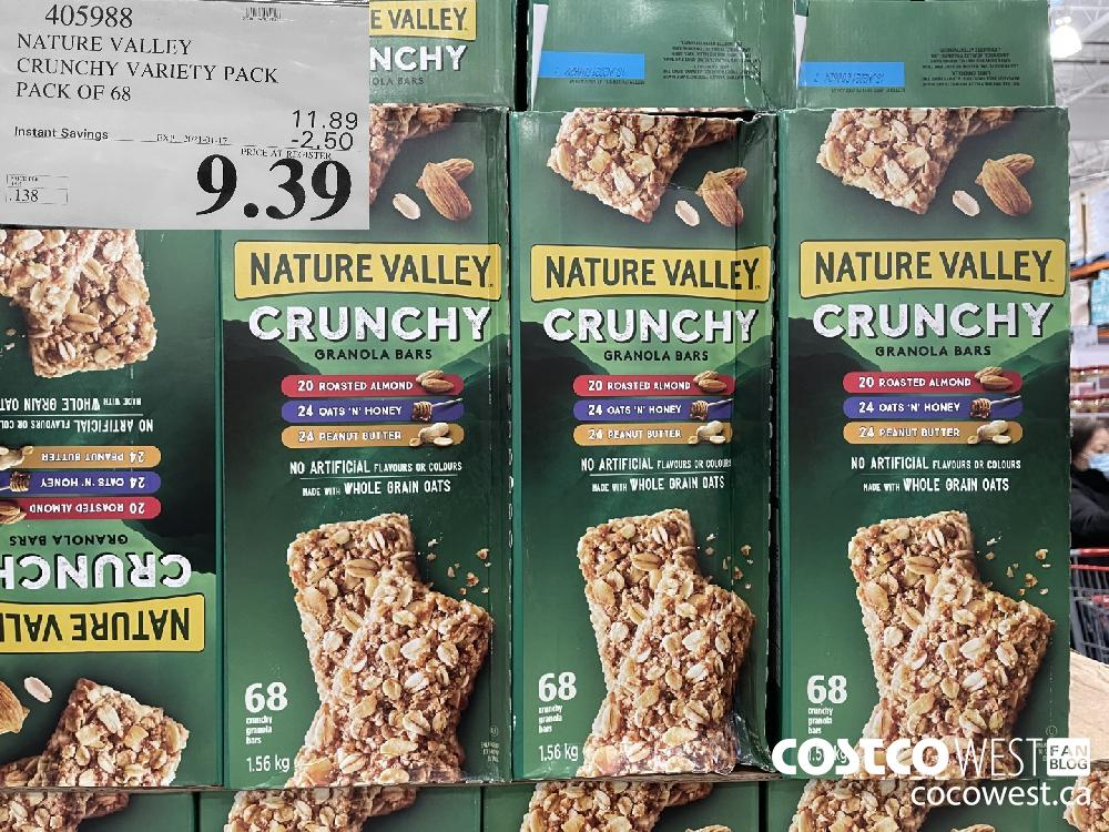 405988 NATURE VALLEY CRUNCHY VARIETY PACK PACK OF 68 EXPIRY DATE: 2021-01-17 $9.39
