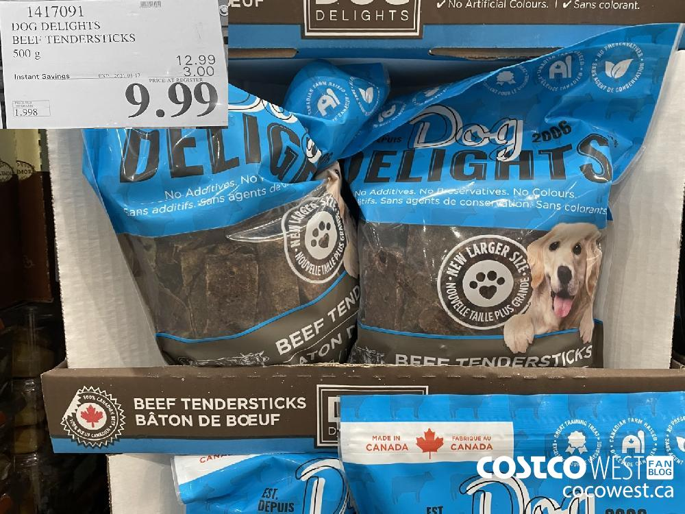 1417091 DOG DELIGHTS BEEF TENDERSTICKS 500 g EXPIRY DATE: 2021-01-17 $9.99