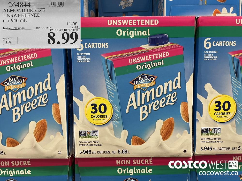 264844 ALMOND BREEZE UNSWEETENED 6 x 946 mL EXPIRY DATE: 2021-01-17 $8.99