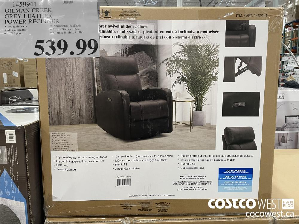 1459941 GILMAN CREEK GREY LEATHER POWER RECLINER $539.99