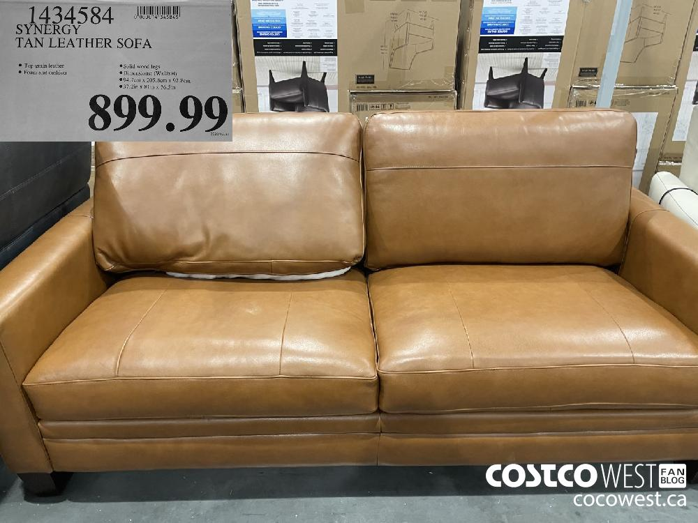 1434584 SYNERGY TAN LEATHER SOFA $899.99