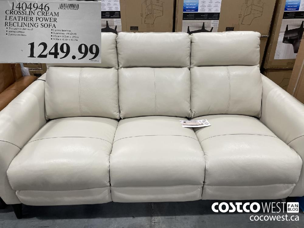 1404946 CROSSLIN CREAM LEATHER POWER RECLINING SOFA $1249.99