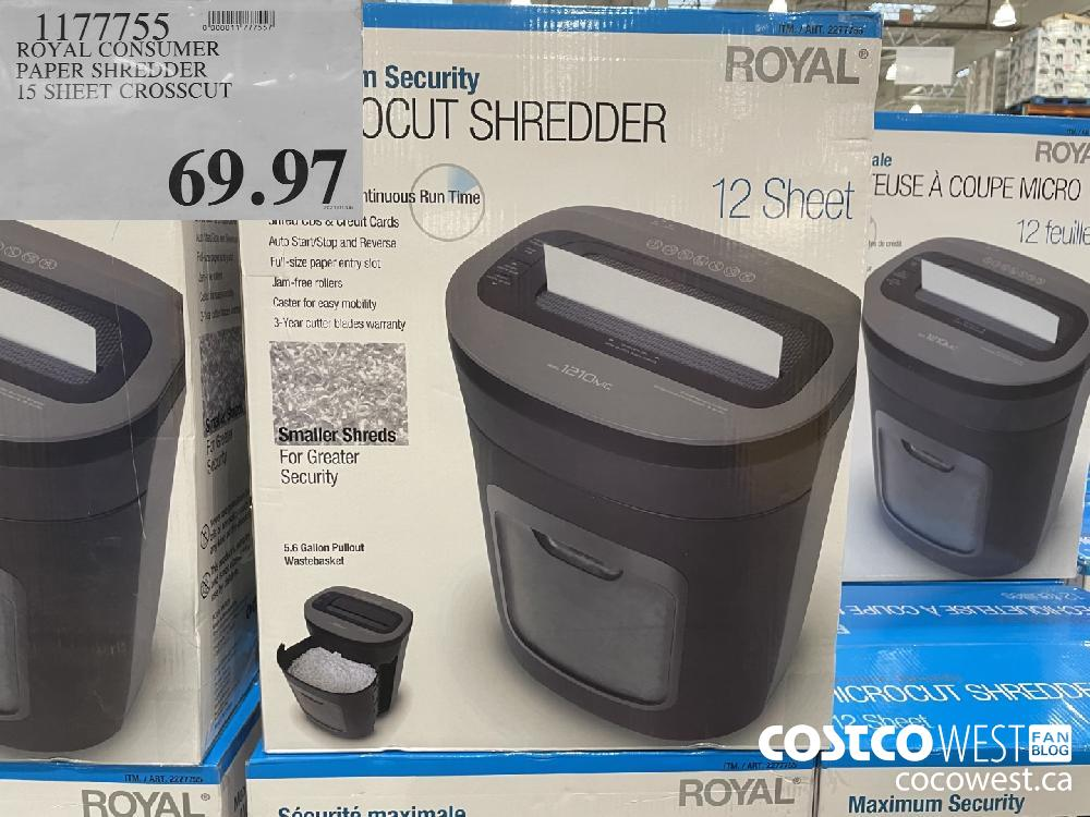1177755 ROYAL CONSUMER PAPER SHREDDER 15 SHEET CROSSCUT $69.97