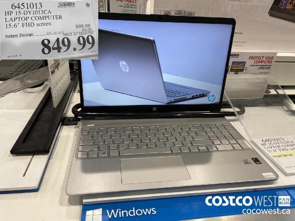 "6451013 HP 15-DY1013CA LAPTOP COMPUTER 15.6"" FHD screen EXPIRY DATE: 2021-01-14 $849.99"