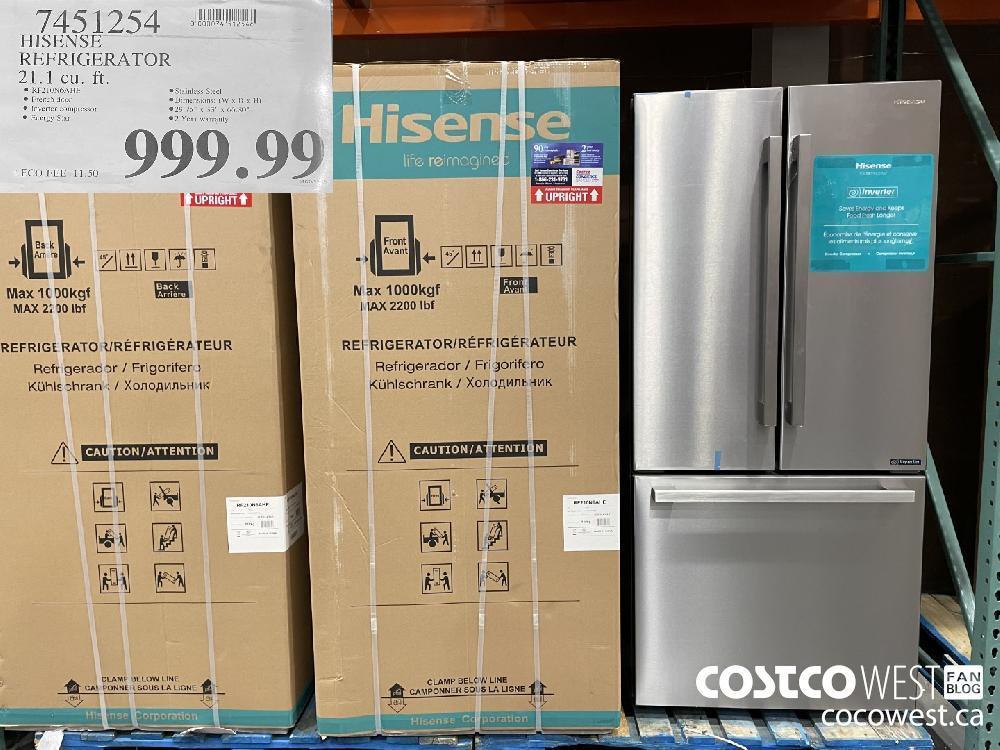 7451254 HISENSE REFRIGERATOR 21.1 cu. ft. $999.99