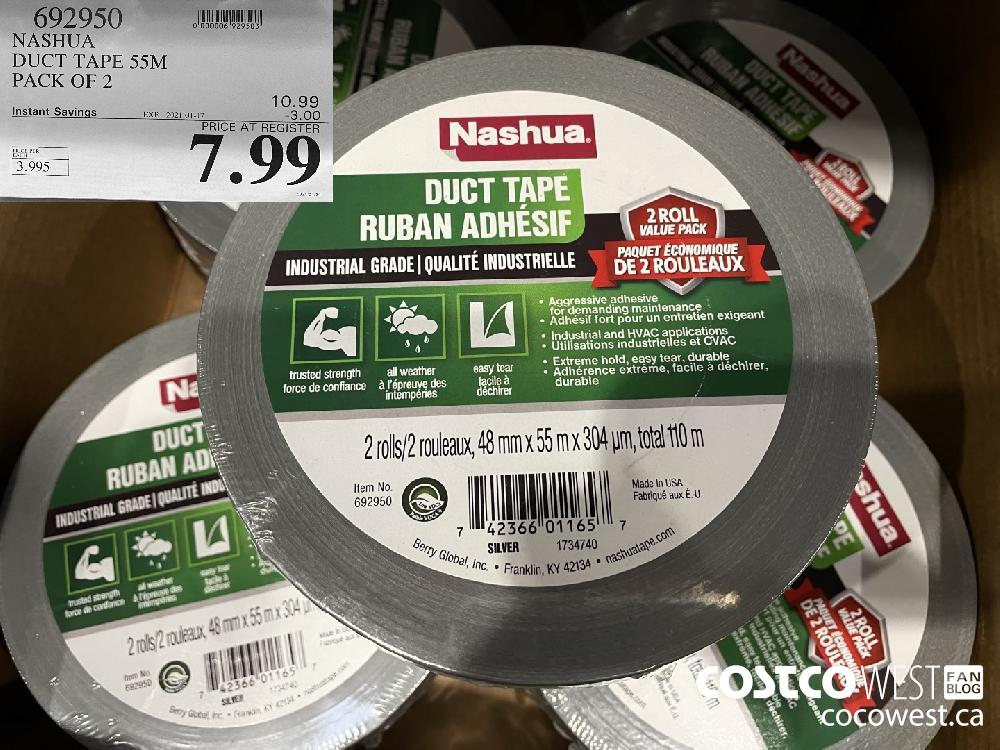 692950 NASHUA DUCT TAPE 55M PACK OF 2 EXPIRY DATE: 2021-01-17 $7.99