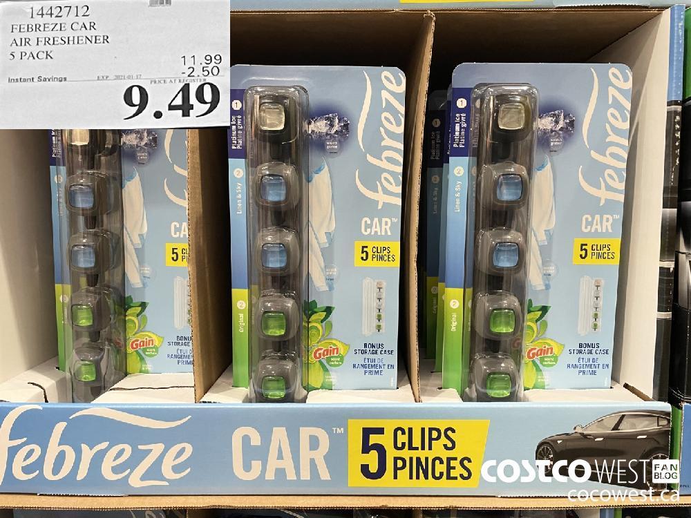 1442712 FEBREZE CAR AIR FRESHENER 5 PACK EXPIRY DATE: 2021-01-17 $9.49