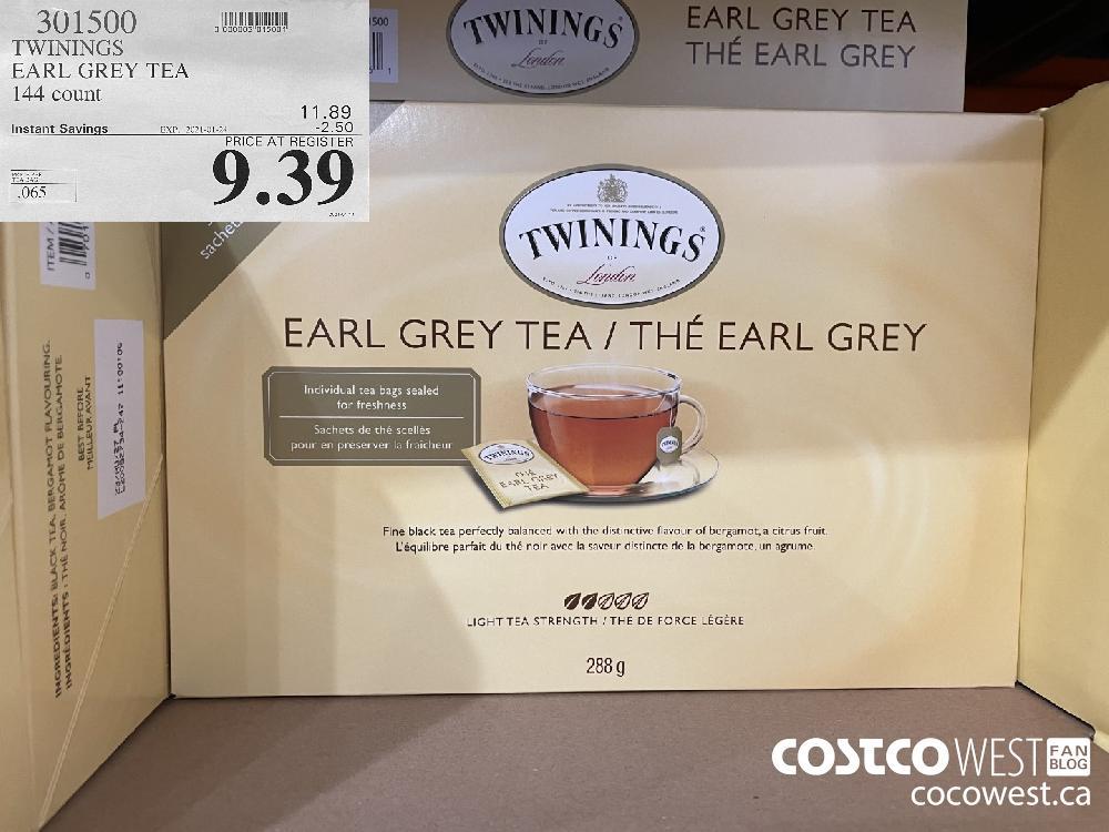 301500 TWININGS EARL GREY TEA 144 count EXPIRY DATE: 2021-01-24 $9.39