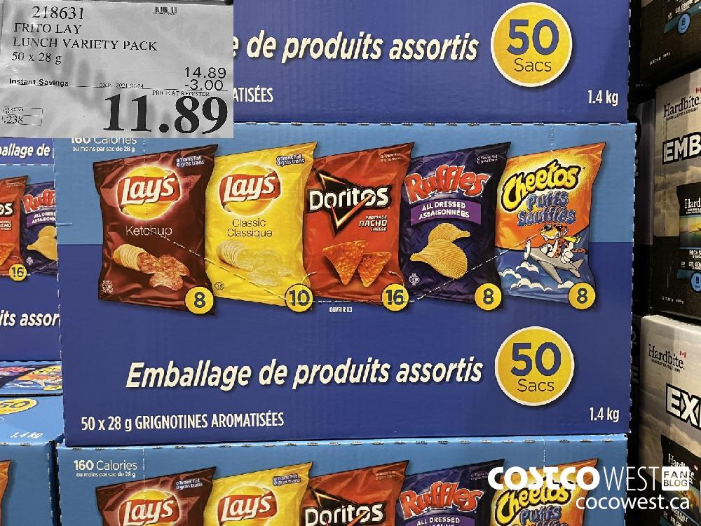 218631 FRITO LAY LUNCH VARIETY PACK 50 x 28 g EXPIRY DATE: 2021-01-24 $11.89