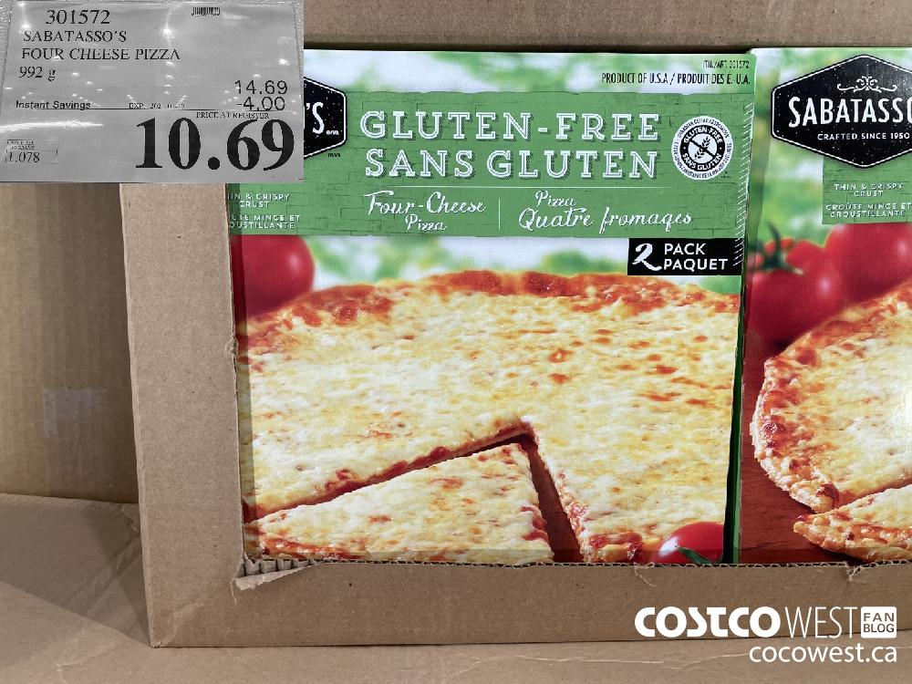 301572 SABATASSO'S FOUR CHEESE PIZZA 992 g EXPIRY DATE: 2021-01-17 $10.69