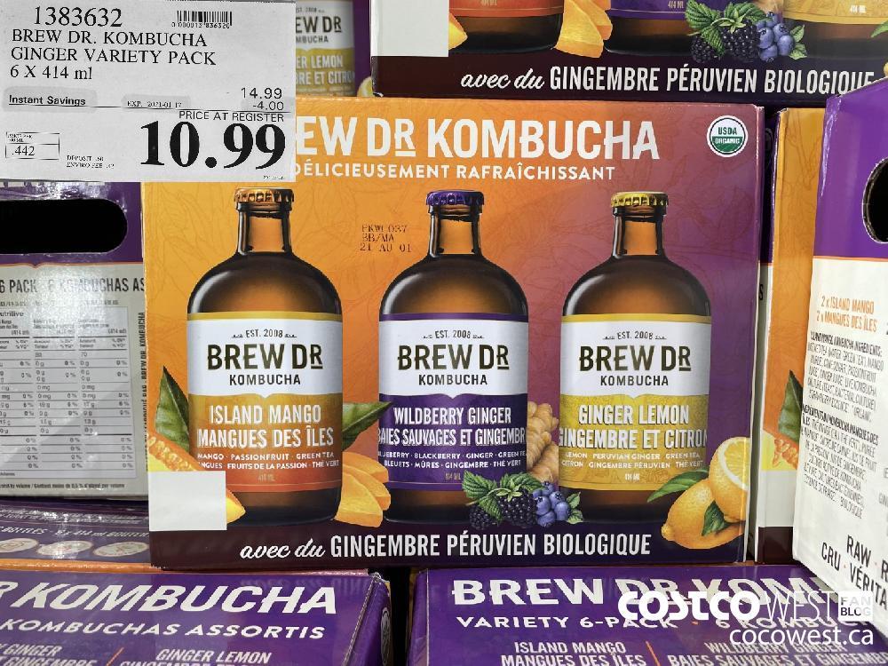 1383632 BREW DR. KOMBUCHA GINGER VARIETY PACK 6 X 414 ml EXPIRY DATE: 2021-01-17 $10.99