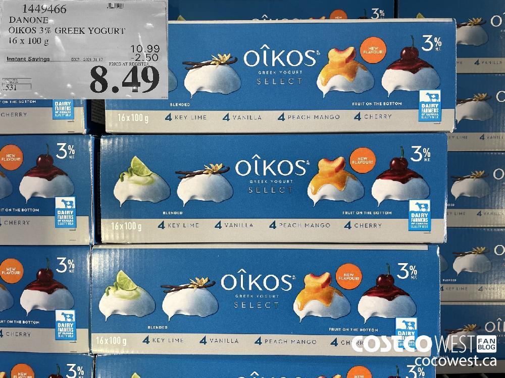 14449466 DANONE OIKOS 3% GREEK YOGURT 16x 100g EXPIRY DATE: 2021-01-17 $8.49