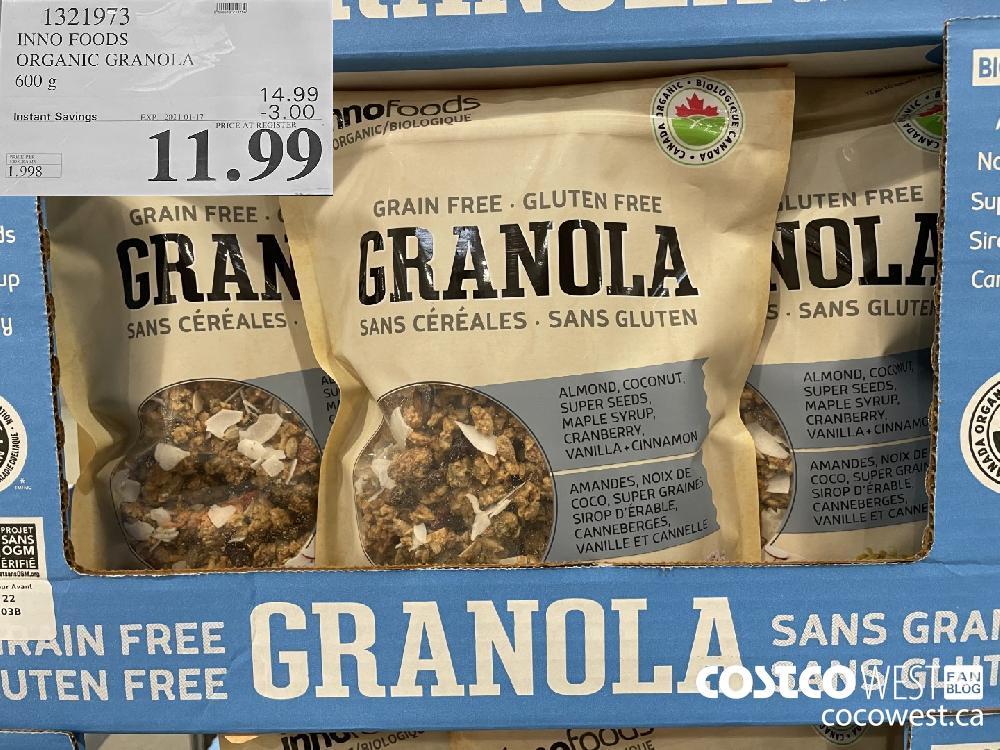 1321973 INNO FOODS ORGANIC GRANOLA 600 g EXPIRY DATE: 2021-01-17 $11.99