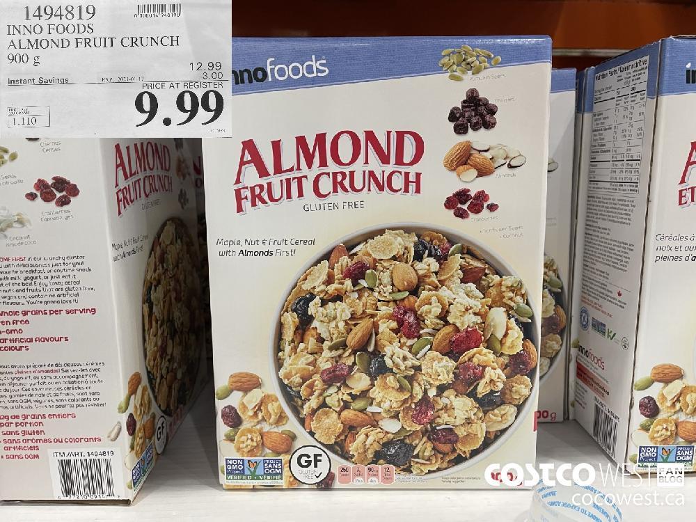 1494819 INNO FOODS ALMOND FRUIT CRUNCH 900 g EXPIRY DATE: 2021-01-17 $9.99