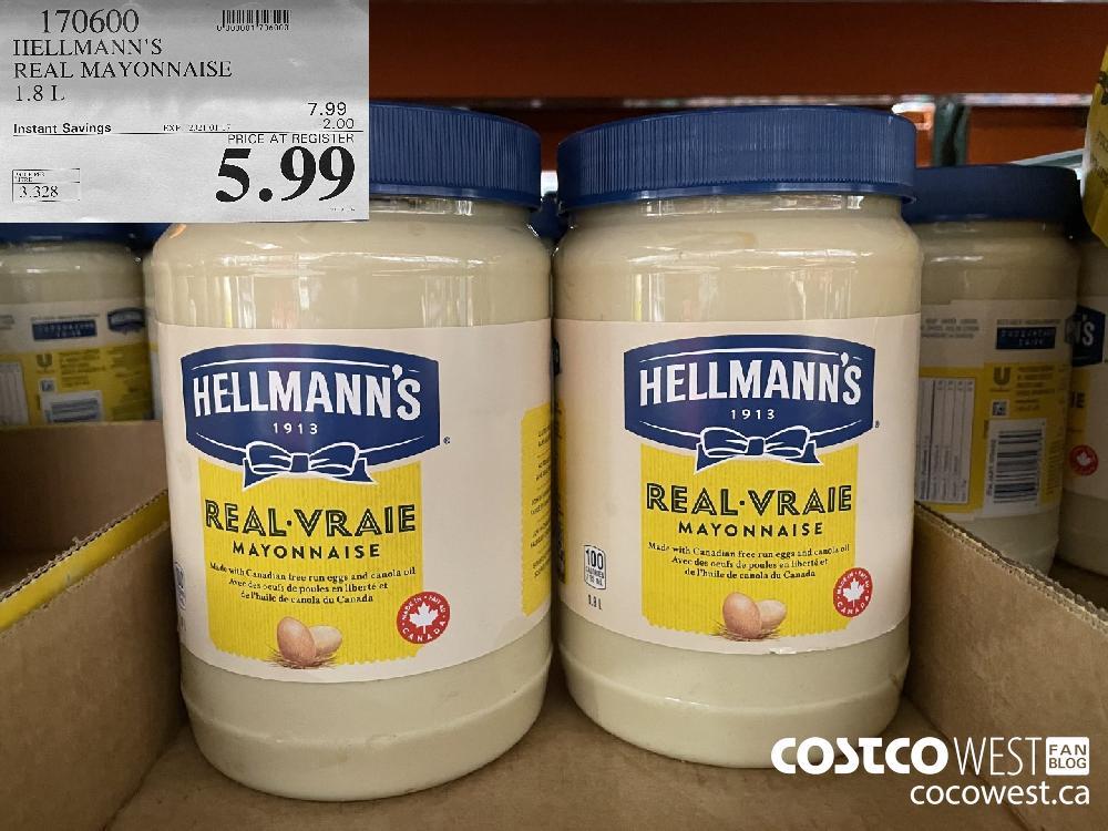 170600 HELLMANN'S REAL MAYONNAISE 1.8 L EXPIRY DATE: 2021-01-17 $5.99