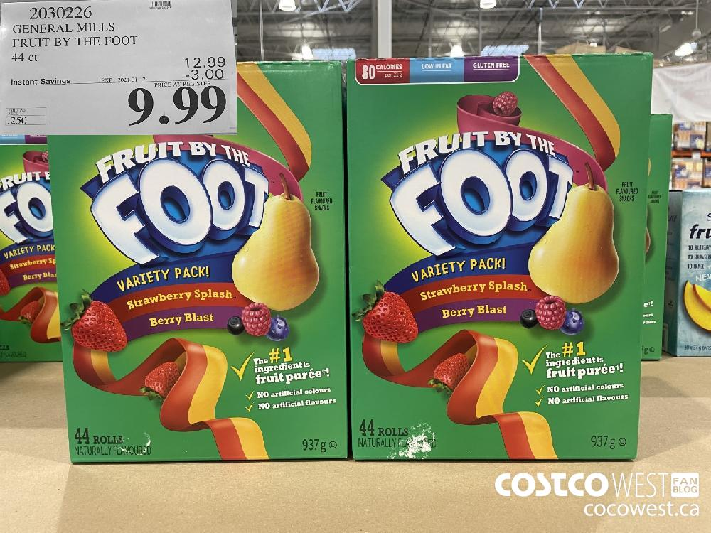 2030226 GENERAL MILLS FRUIT BY THE FOOT 44 ct EXPIRY DATE: 2021-01-17 $9.99