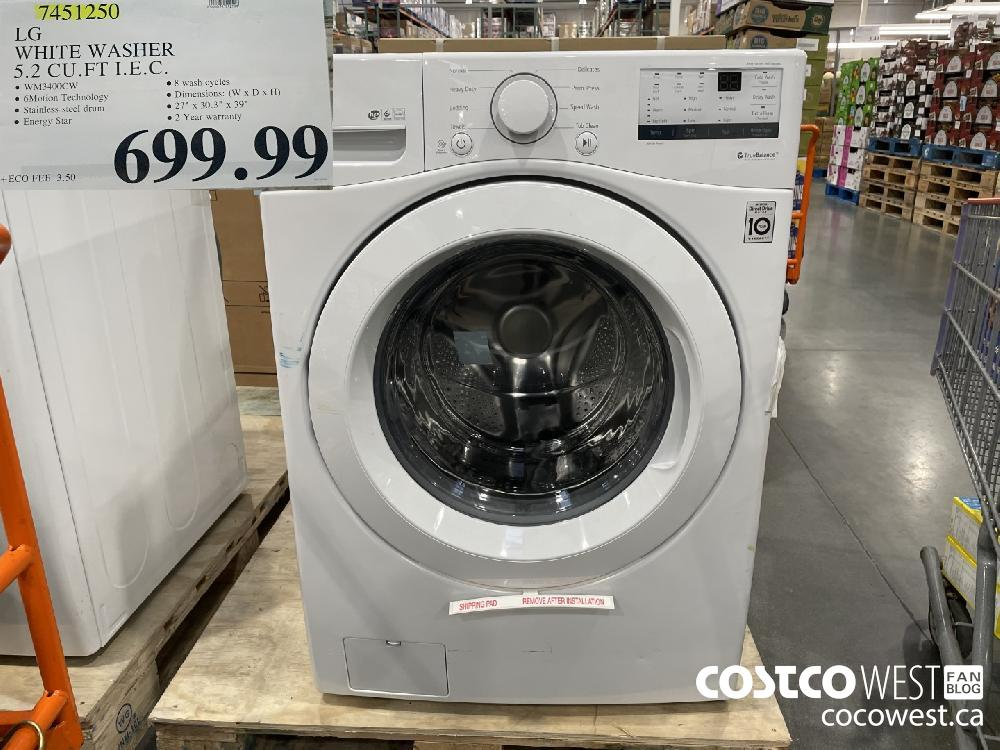 7451250 LG WHITE WASHER 5.2 CU. FT I.E.C. $699.99