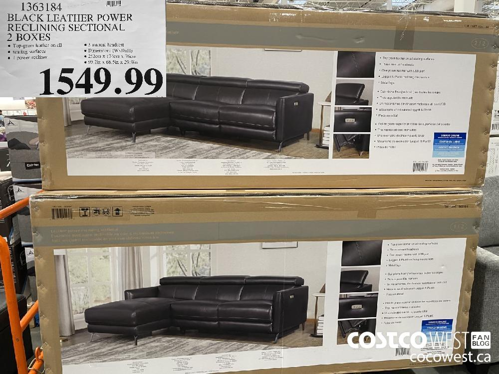 1363184 BLACK LEATHER POWER RECLINING SECTIONAL 2 BOXES $1549.99