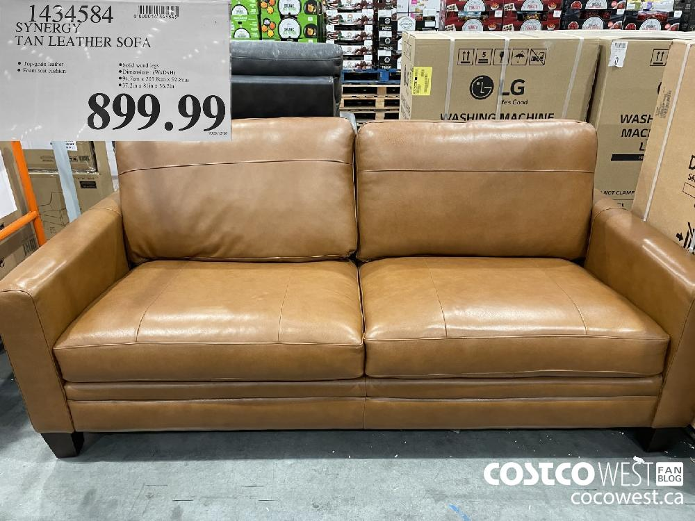 1454584 SYNERGY TAN LEATHER SOFA $899.99