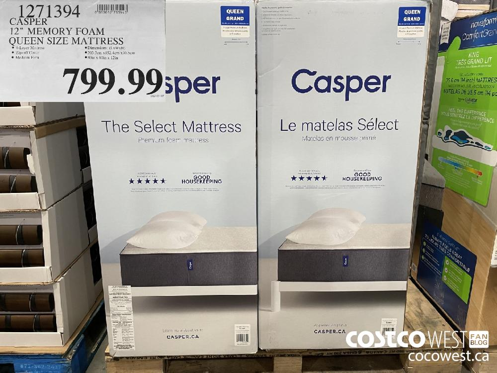 "1271394 CASPER 12"" MEMORY FOAM QUEEN SIZE MATTRESS $799.99"