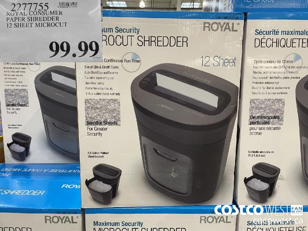 2277755 ROYAL CONSUMER PAPER SHREDDER 12 SHEET MICROCUT $99.99