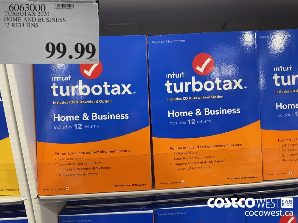 6063000 TURBOTAX 2020 HOME AND BUSINESS 12 RETURNS $99.99