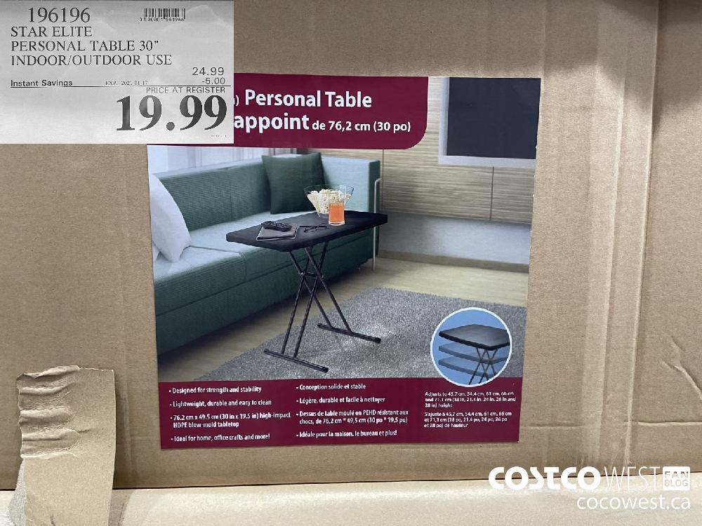 """196196 STAR ELITE PERSONAL TABLE 30"""" INDOOR/OUTDOOR USE EXPIRY DATE: 2021-01-17 $19.99"""