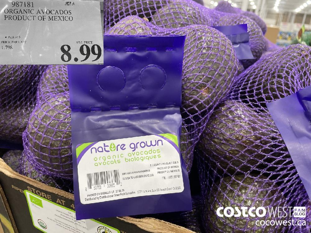 987181 ORGANIC AVOCADOS PRODUCT OF MEXICO $8.99