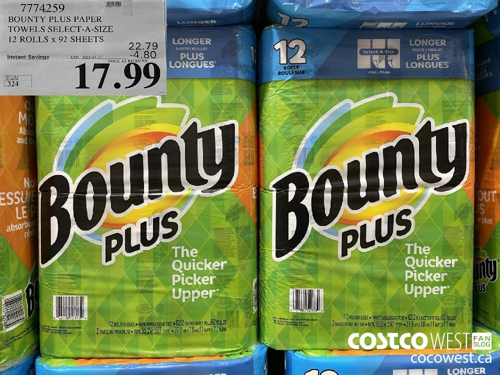 7774259 BOUNTY PLUS PAPER TOWELS SELECT-A-SIZE 12 ROLLS x 92 SHEETS EXPIRY DATE: 2021-01-17 $17.99