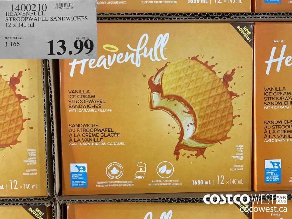 1400210 HEAVENFULL STROOPWAFEL SANDWICHES PRICE PER EACH SELL PRICE $13.99