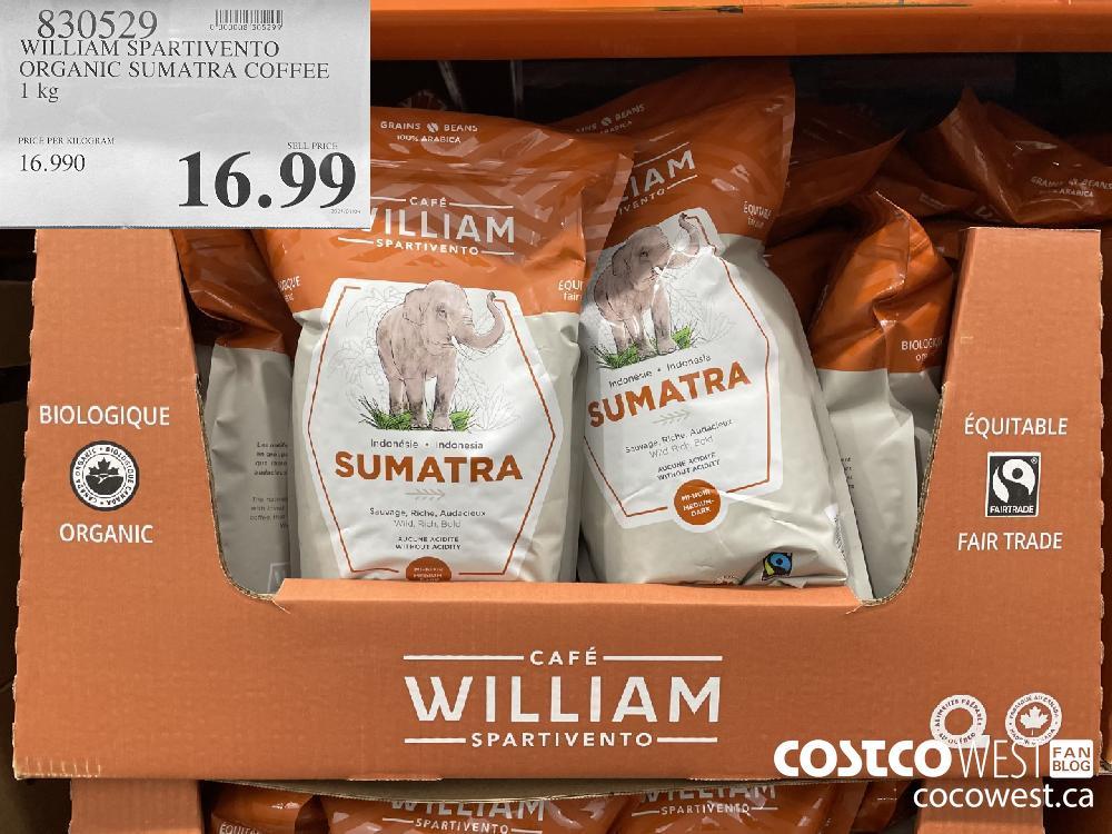 830529 WILLIAM SPARTIVENTO ORGANIC SUMATRA COFFEE 1 kg $16.99