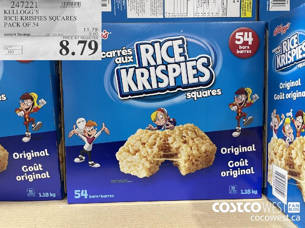 247221 KELLOGG'S RICE KRISPIES SQUARES PACK OF 54 EXPIRY DATE: 2021-01-17 $8.79