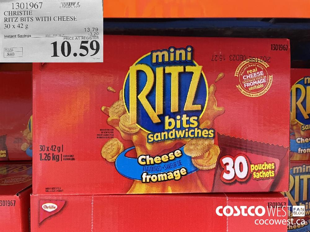 1301967 CHRISTIE RITZ BITS WITH CHEESE 30x 42 g EXPIRY DATE: 2021-01-17 $10.59