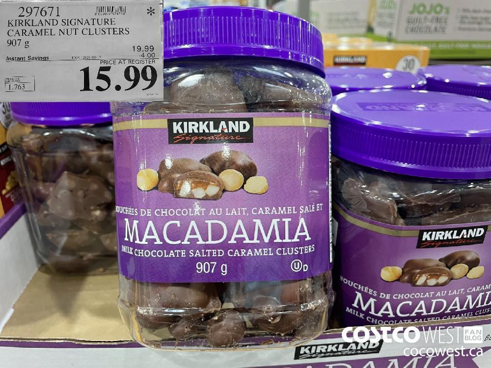 297671 KIRKLAND SIGNATURE CARAMEL NUT CLUSTERS 907 g EXPIRY DATE: 2021-01-17 $15.99