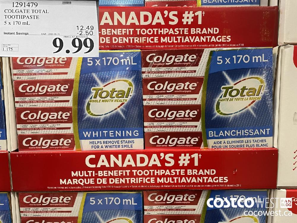 1291479 COLGATE TOTAL TOOTHPASTE 5 x 170 mL EXPIRY DATE: 2021-01-31 $9.99