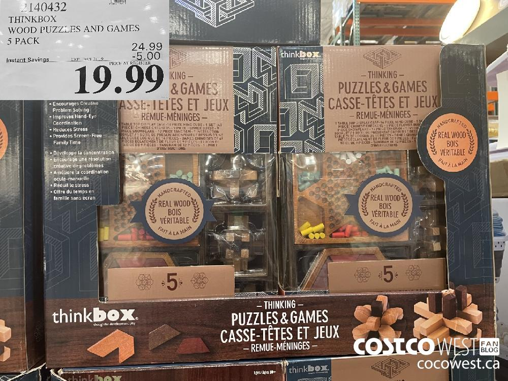 2140432 THINKBOX WOOD PUZZLES AN D GAMES 5 PACK EXPIRY DATE: 2021-01-19 $19.99