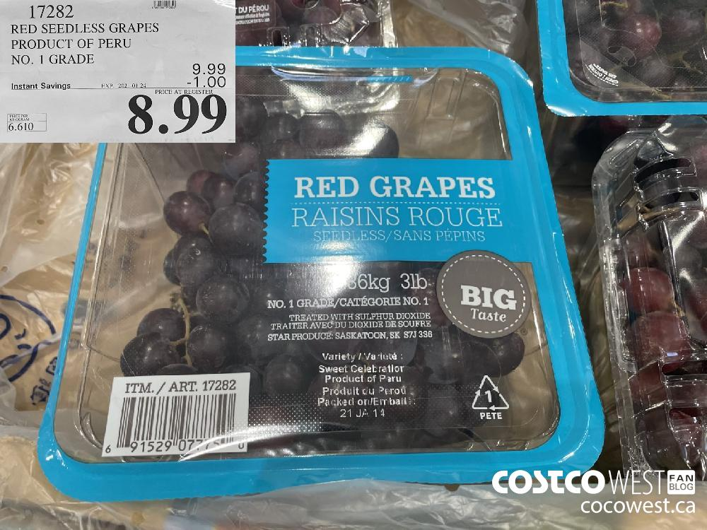 17282 RED SEEDLESS GRAPES PRODUCT OF PERU NO. 1 GRADE EXPIRY DATE: 2021-01-24 $8.99