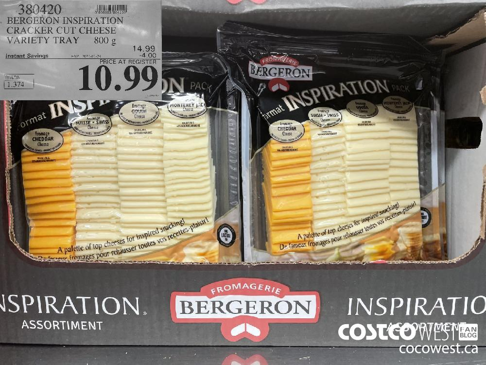 380420 BERGERON INSPIRATION CRACKER CUT CHEESE VARIETY TRAY 800 g EXPIRY DATE: 2021-01-24 $10.99